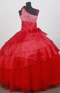 Asymmetrical Red Beaded and Flowers Girls Pageant Dresses with Ruffle