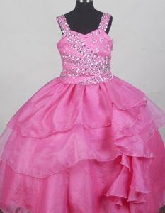 Hot Pink Straps Neckline Beaded and Ruffled Baby Girl Pageant Dresses