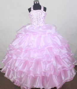 Brand New Halter Baby Pink Beaded Flower Girl Pageant Dress in Texas