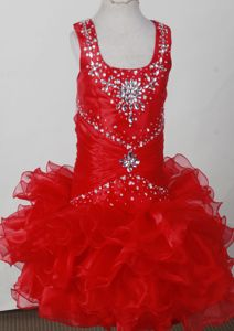 Scoop Beaded Pretty Red Ruched Girl Pageant Dress with Ruffles in Utah