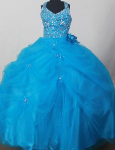 Blue Sweet Halter Flower Girl Pageant Dresses with Beading and Flowers
