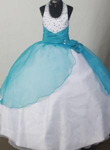 Lovely Halter Beaded Teal and White Ruched Flower Girl Pageant Dresses