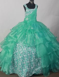 Appliqued and Ruched Straps Ruched Turquoise Pageant Dress with Ruffles