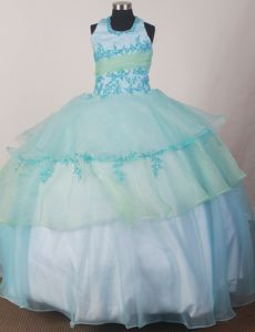 Appliques Apple Green Beaded Halter Flower Girl Pageant Dress with Ruffles