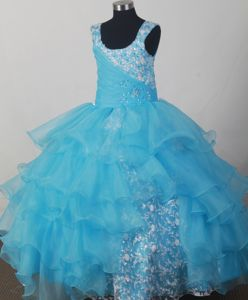Scoop Light Blue Appliqued Aqua Blue Baby Girl Pageant Dress with Ruffles