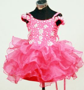 Hot Pink Beaded Mini-length Little Girls Beauty Pageant Dresses in Virginia