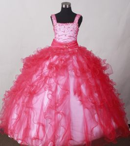 Coral Red Straps Beading Ruffled Baby Girl Pageant Dresses in Charleston