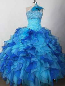 Perfect Beaded Aqua Blue Latest Girl Pageant Dresses with Ruffles in Texas