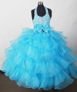 Halter Beaded Bowknot Beauty Pageants Dresses with Ruffles in Aqua Blue