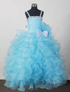 Aqua Blue Beaded Ruched Child Pageant Dresses with Ruffles and Bowknot