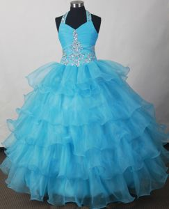 Brand New Halter Beaded Ruched Aqua Blue Girl Pageant Dress with Ruffles