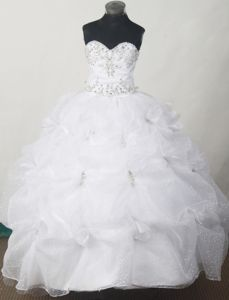Appliqued and Pick-ups Sweet Beaded White Little Girl Pageant Dresses