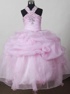 Baby Pink Beading Pageant Dresses for Toddlers with Ruffles in Wyoming