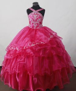 V-neck and Beaded Hot Pink Girl Pageant Dress with Ruffles in Tennessee