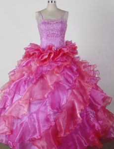 Spaghetti Straps Pretty Beauty Pageants Dresses with Beading and Ruffles