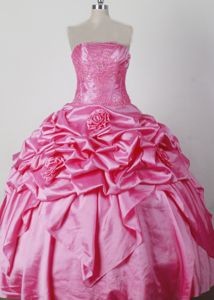 Beaded and Hand Made Flowers Hot Pink Cheap Pageant Dress for Juniors