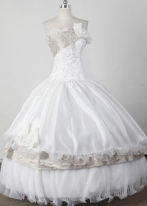 Beaded Strapless Floor-length White Flower Girl Pageant Dress in Vermont