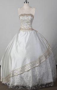 Strapless Floor-length Beading White Pageant Dresses for Girl in Virginia