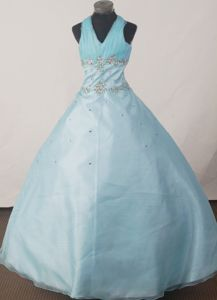Halter Ruched Floor-length Beaded Light Blue Interview Pageant Dresses