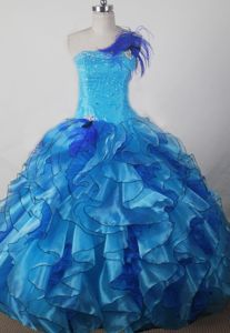 Exquisite Ruffled Aqua Blue Beaded Floor-length Glitz Pageant Dress in Utah
