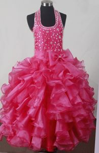 Halter Beaded Beauty Pageant Dresses in Hot Pink with Ruffles and Bowknot