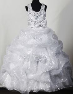 Scoop Beaded White Beauty Pageant Dresses with Pick Ups and Bowknot