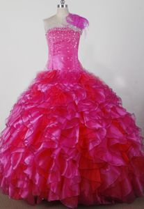Hot Pink Strapless Floor-length Beaded Girl Pageant Dresses with Ruffles