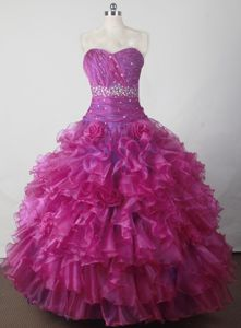 Sweetheart Beaded and Ruffled Beauty Pageant Dresses with Handle Flower