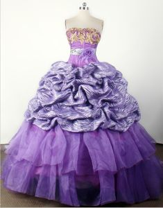 Strapless Appliqued Ball Gown Little Girls Pageant Dresses with Hand Made Flower from Tulsa