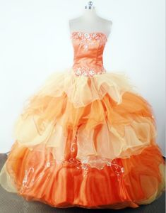 Ball Gown Floor-length Strapless Embroidered Little Girls Pageant Dresses Beading in Union