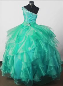 One Shoulder Yellow Beaded Ball Gown Little Girls Pageant Dresses in Floor-length in Utica