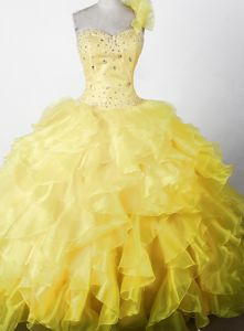 Elegant Beaded Ruffled Floor-length Little Girls Pageant Dresses in One Shoulder in Hillsboro