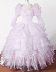 Ball Gown Embroidered with Beading Floor-length Little Girls Pageant Dresses V-neck in Fargo