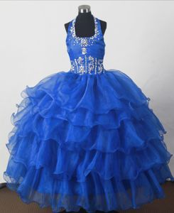 Perfect Beaded Ball Gown Floor-length Little Girls Pageant Dresses with Halter Top in Tulsa