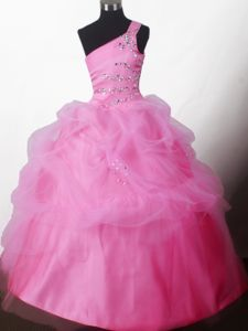 Pretty Ball Gown Beaded One-shoulder Little Girls Pageant Dresses in Floor-length from Utica
