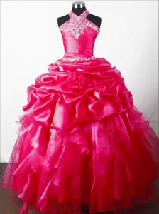 Beaded Hand Made Flower Ball Gown Little Girls Pageant Dresses with Halter Top in Tulsa