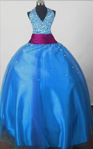 Halter Top Sweet Beaded Decorate Ball Gown Little Girls Pageant Dresses in Bodice in Union