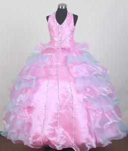 Beaded Ball Gown Halter Little Girls Pageant Dresses in Floor-length from Montgomery