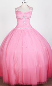 Beaded Decorate Ball Gown Halter Top Little Girls Pageant Dresses in Floor-length in Fargo