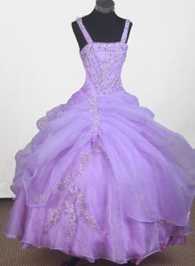 Ball Gown Strap Floor-length Appliqued Little Girls Pageant Dresses with Beading in Hillsboro