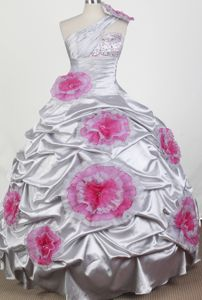 One Shoulder Beaded Hand Made Flowers Little Girls Pageant Dresses in Floor-length in Tulsa