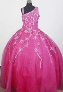 Brand new Beaded Handle Flowers Ball Gown Little Girls Pageant Dresses with Straps in Union