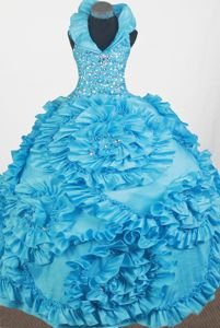 Halter Top Beaded Floor-length Little Girls Pageant Dresses with Handle Flowers in Eugene