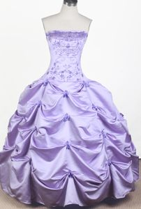 Strapless Floor-length Ball Gown Embroidered Little Girls Pageant Dresses Beading in Utica