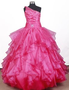 Beaded Ruffled Ball Gown Floor-length Little Girls Pageant Dresses in One Shoulder in Flint
