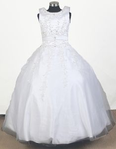 Floor-length Embroidered Beaded Ball Gown Little Girls Pageant Dresses with Scoop in Troy