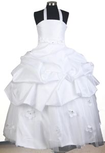 Halter Top Ball Gown Handle Flowers Little Girls Pageant Dresses with Beading in Reno