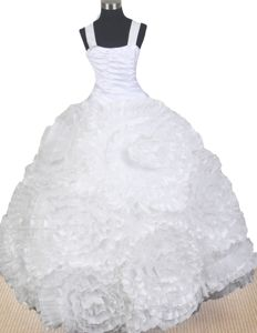 Elegant Ball Gown Floor-length Little Girls Pageant Dresses with Hand Made Flowers in Reno