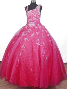 Brand Beaded Hand Made Flowers Ball Gown Little Girls Pageant Dresses with Straps in Biloxi
