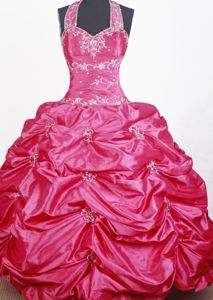 Halter Top Ball Gown Embroidered for Little Girls Pageant Dresses with Beading in Troy